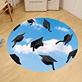 Gzhihine Custom round floor mat Graduation Caps Thrown into Sky Last of the School Highschool College Ceremony Picture Bedroom Living Room Dorm Blue Black