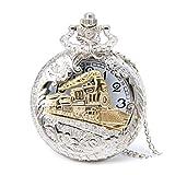 Profusion Circle Retro Hollow Steam Train Antique Style Quartz Pocket Watch Necklace Gift (Silver)