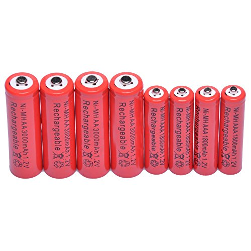 Simply Silver - - 4 AA 3000mAh + 4 AAA 1800mAh 1.2V NI-MH Rechargeable Battery 2A 3A Red Cell USA
