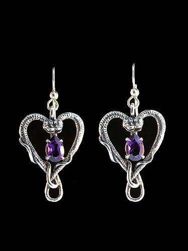 Snake earrings Handmade silver snake earrings with amethyst Snake silver hoops