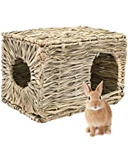 lwingflyer Rabbit Grass House Woven Folding Beds Sleeping Chew Toys for Small Animal Bunny Hamster Chinchillas Guinea Pet Hay Bed