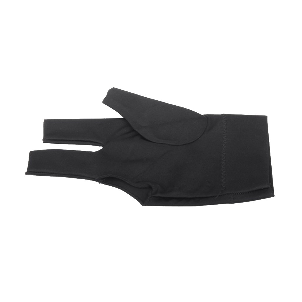 Professional Billiard Left Hand Three Finger Open Fingertip Glove Black Generic