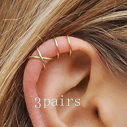 401c1242651 maledery 3 Pairs Fashion Minimalist Ear Cuff Set No Piercing Criss Cross  Fake Cartilage Earring Climber