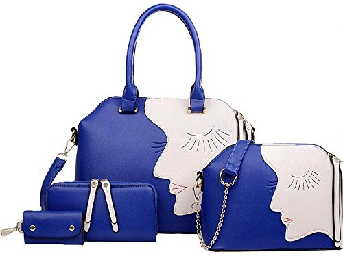 1 Set Of Bags For Women - Leather Bag + Bag + Wallet + Key Package / Set Bag - Brown Blue
