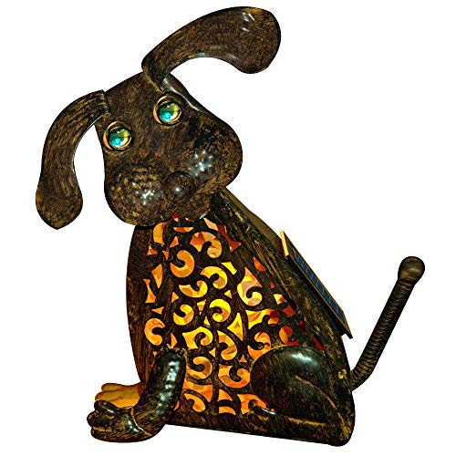 Dog Lantern Garden Statue Lamp Metal Rustic Figurine Vintage Decor Dog Lantern Solar Powered Yard Decorations Zen Puppy Boston Terrier Novelty Night Lights Statues Outdoor Rechargeable Waterproof Yard -