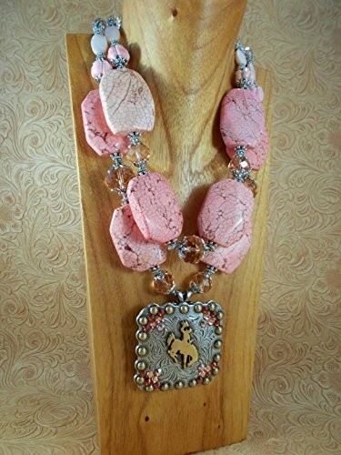 [Chunky Western Cowgirl Necklace Set - Peach Pink Howlite - Crystal - Concho Pendant] (Cowgirl Concho)