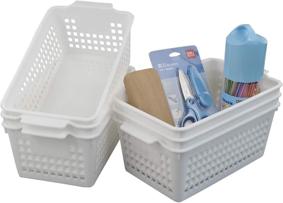 Fosly Cestos de Plastico Pequeños Blancos, Cesta Almacenamiento Plastico, Paquete de 6 Unidades