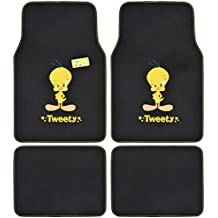A Set of 4 Universal Fit Plush Carpet Floor Mats for Car SUV Truck - Warner Brothers Looney Tunes Tweety Bird