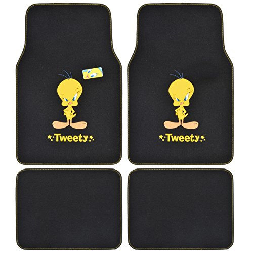 Price comparison product image A Set of 4 Universal Fit Plush Carpet Floor Mats for Car SUV Truck - Warner Brothers Looney Tunes Tweety Bird