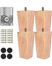 Xkfgcm 4 inch houten meubelpoten Set van 4 pootmontageplaten Bevestigingsplaten Bankpoten met ophangbouten Taps toelopende piramide hout M8 draad Metrisch 8 mm voor meubels Banken Banken Stoelen