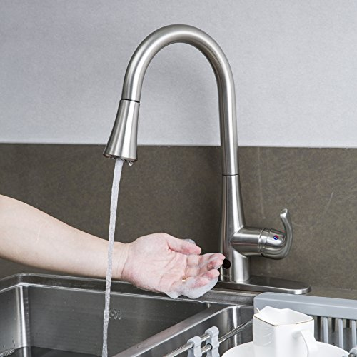 Forious Automatic Motion Sensor Kitchen Sink Faucet with Pull Down Sprayer, Single Handle For Touchless Kitchen Sink Faucets, Brushed Nickel Copper Single Handle Kitchen Faucet