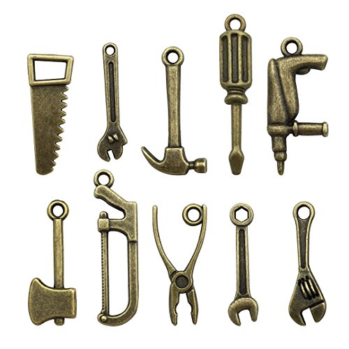 50 PCS Worker 3D Tool Charms Collection - Arm Saw Wrench Spanner Screw Driver Shovel Scoop Hammer Axe Ax Hatchet Chopper Hacksaw Drill Vise Pincer Pliers Metal Pendants (Bronze HM 68) -