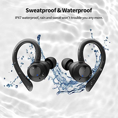 Axloie Wireless Earbuds Sport, [Upgraded] Bluetooth 5.0 Headphones True Wireless Premium Deep Bass IPX7 Waterproof 25H Playtime in-Ear TWS Stereo Earphones with Charging Case for Running Gym Workout