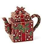 Value Arts Christmas Ornaments, Handmade Cloisonne Square Red Christmas Teapot