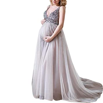 1105ae087305e Ohvivid Sexy Women Pregnant Sling V Neck Sequin Cocktail Long Maxi Prom  Gown Dress Maternity Dress