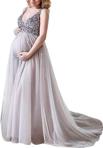 Mymyguoe Mujeres Vestido de Maternidad Embarazadas con Cuello en v de Lentejuelas Vestido de c/óctel de Fiesta de Noche Vestido de Novia Mujer Embarazada