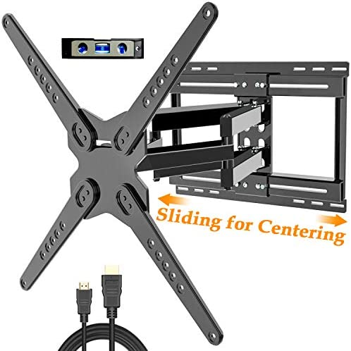 JUSTSTONE Full Motion TV Wall Mount Bracket for 32-80 Inch Flat Curved Screen Plasma TVs with Sliding Design and Dual Swivel Articulating Arms Max VESA 6600x400mm 24 x16 up to 99LBS