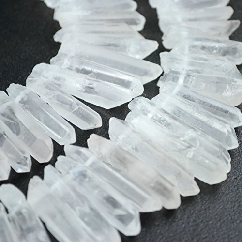 (Raw Natural Rock Crystal Quartz Point Beads 15 inches Strand Rough Clear Quartz Pointed 20mm to 40mm Top Drilled)