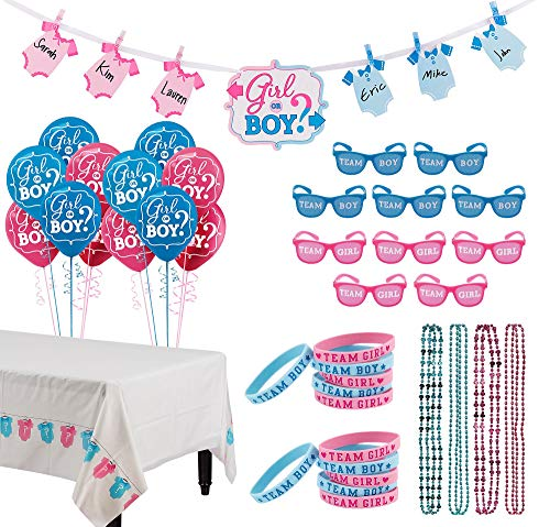 Party City Girl or Boy Gender Reveal Party Activity Kit and Supplies, Includes Balloons, Banner and More]()