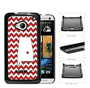 Alabama State Girl With Heart And Chevron Hard Plastic Snap On Cell Phone Case HTC One M7
