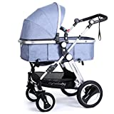 Infant Baby Stroller Toddler Carriage - Cynebaby Folding Pram Bassinet Strollers with Cup Holder (blue)
