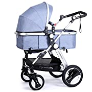 Infant Toddler Baby Stroller Carriage - Cynebaby Compact Pram Strollers add Tray (Blue)