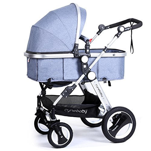 Infant Baby Stroller Toddler Carriage - Cynebaby Folding Pram Bassinet Strollers with Cup Holder (blue) by cynebaby