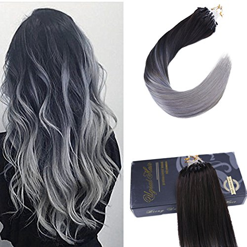 "Price comparison product image Ugeat 18"" 1g/Strand 50 Gram Micro Beads Link Human Hair Extensions Two Tone Color Off Black #1B Fading to Silver Grey Color Micro Ring Loop Real Remy Human Hair Extensions"