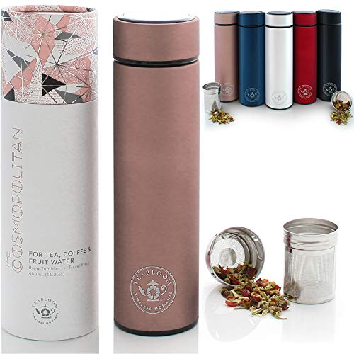 Teabloom All-Purpose Beverage Tumbler - 16 oz - 480 ml - Brushed Metal Insulated Water Bottle/Tea Flask/Cold Brew Coffee Mug - Extra-Fine Two-Way Infuser Travel Bottle - Rose Gold