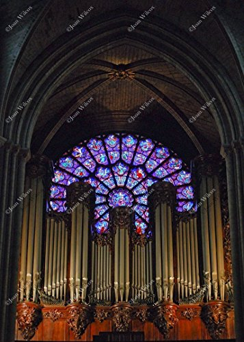 Interior Notre Dame Cathedral Choir Loft and Pipe Organ Rose Window Stained Glass Paris France Architecture Original Fine Art Photography Wall Art Photo (Abbey Stained Glass Print)