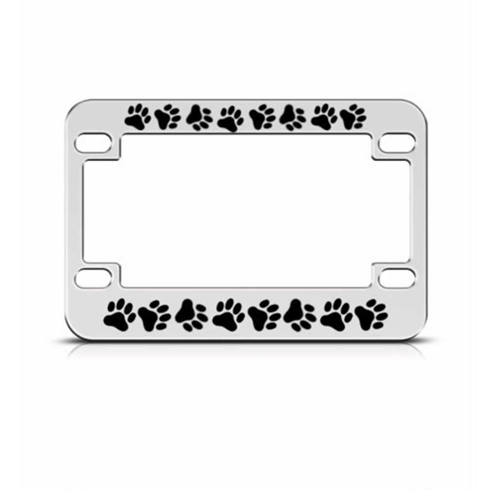 Speedy Pros Dog Cat Prints Paw Paws Metal Bike Motorcycle License Plate Frame Holder