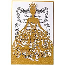 KAZIPA 25PCS Laser Cut Wedding Invitations + White Inside Paper + Envelopes, 4.7'' x 7'' Invitations for Bridal Shower Quinceanera Favor Birthday Bachelorette Party, Pink (Gold)