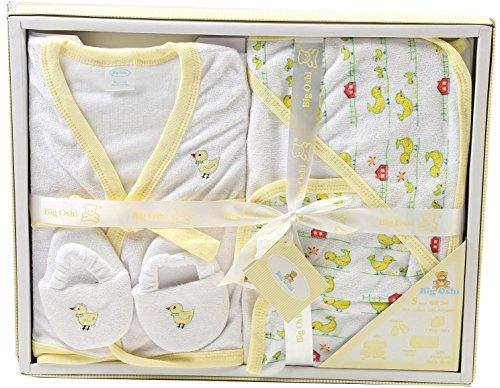 Big Oshi Bathtime Essentials Terry Layette Baby Gift Set, 5 Piece - Pastel Yellow