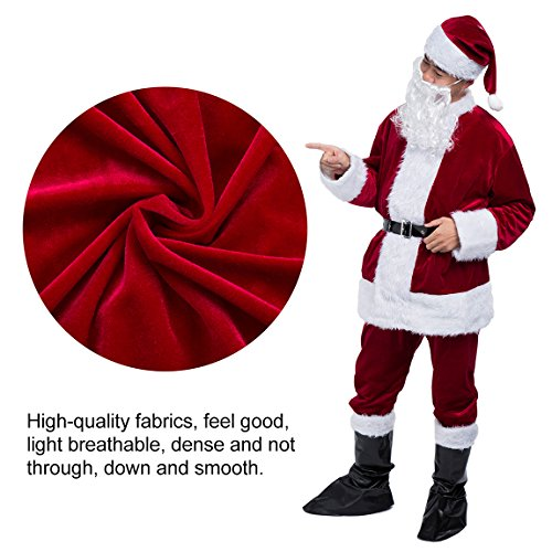 Christmas Santa Claus Costume Set Men's Deluxe Santa Suit Wine Red