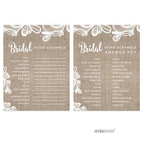 (Andaz Press Burlap Lace Wedding Collection, Wedding Word Scramble Bridal Shower Game Cards, 20-Pack)