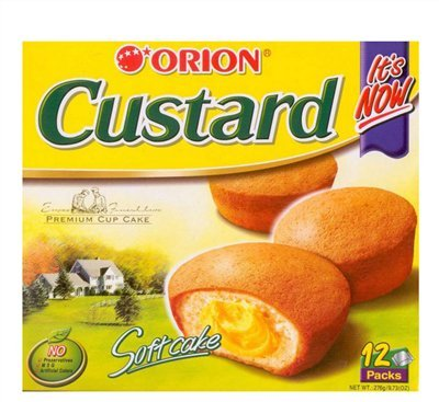Custard Pie - Orion Custard-TIRAMISU SOFT CAKE, CHOCO PIE, NO PRESERVATIVES, MSG, COLORS ADD. 9.73 Oz (12 Pieces) (ORION CUSTARD)