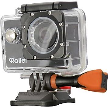 Rollei Actioncam 300 - Videocámara Deportiva HD 720p/30 FPS con Safety Pad y Carcasa Sumergible (hasta 40 m de Profundidad), Color Gris y Naranja