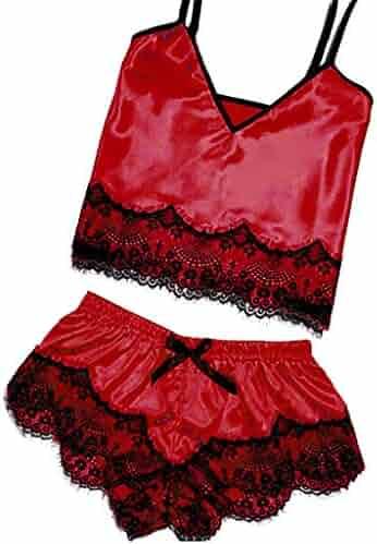 cee484f1a3fa7 HTDBKDBK Womens Sexy Satin Sling Sleepwear Lingerie Lace Bowknot Nightdress  Underwear