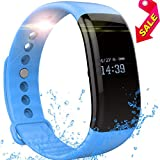 Fitness Tracker Watch, ToHayie Waterproof Fitness Tracker with Heart Rate Monitor Activity Bluetooth Bracelet Watch for Apple IOS Android Smartwatch with Sleep Monitoring Wristband Band Blue