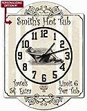 Hot Tub - Customizeable Hardboard Bathroom Clock Sign from Redeye Laserworks