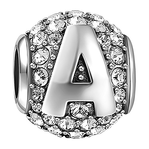 SOUFEEL New Letter A Charms Swarovski 925 Sterling Silver Charms for Bracelets Necklaces Letters (925 Silver New Bracelet)