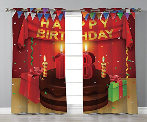 Thermal Insulated Blackout Grommet Window Curtains,18th Birthday Decoration,18