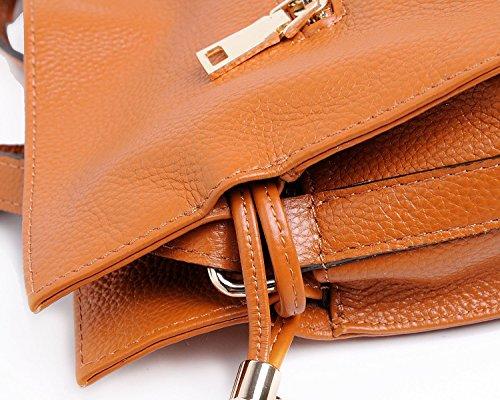 Kuer White Soft Leather Women��s Cross Satchel Candy Shoulder Bucket Hereby Body Color Handbag Bag Purse Uga1qxaw