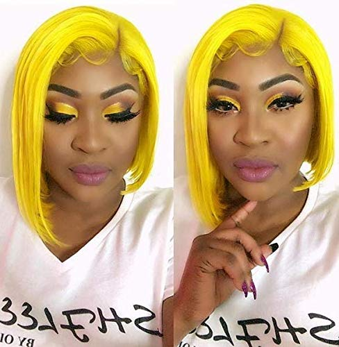 Blue Bird Natural Looking Short Bob Synthetic Lace Front Wig Light Yellow Glueless Heat Resistant Fiber Middle parting for Women Wigs ()