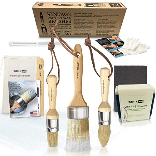 Vintage Tonality Pro Chalk amp Wax Brush Set for Painting Furniture 3 Paint Brushes Works with Milk Paint Clear Wax Home Decor Large amp Small Natural Hair Bristles Round Oval Flat Bristle Head