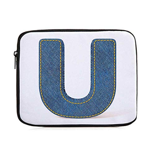 (Letter U,Denim Letter Alphabet Design with Realistic Looking Fabric Texture Stitches Image Decorative,One Size)