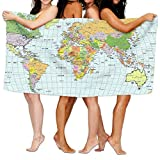 Chu warm Beach Towel World Map Pictures Unique Microfiber Absorbent Solid Bath Sheets