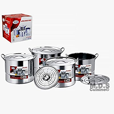 Steamer Pots 12 pc Set Stainless Steel Multi Stock pots Vaporers Tamalera Tamales 6QT,8QT,12QT,16QT
