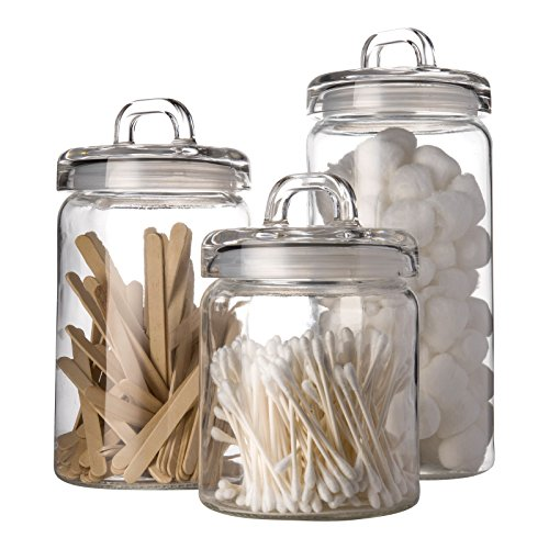 Set Of 3 Clear Glass Canister Jars With Tight Lids And