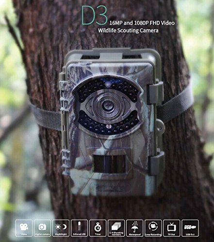 Game Trail Hunting Camera 16MP 1080P FHD Infrared Night Vision Scouting Camera with 42pcs IR LEDs